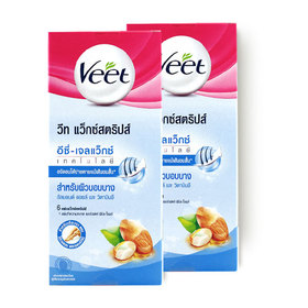 แพ็คคู่ Veet Hair Removal Waxstrips Almond Oil and Vitamin E (6sheets x 2boxes)