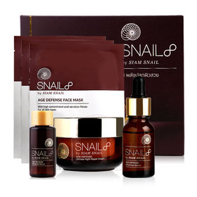 Snail8 Age Defense Set 3 Items (Night Repair Cream 50g + Advanced Serum 15ml + Face Mask 23g x 3pcs) Free! Age Defense Advanced