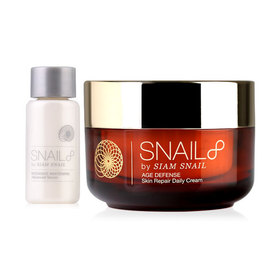 Snail8 Age Defense Skin Repair Daily Cream 50g (Free! Intensive Whitening Advanced Serum 3ml)