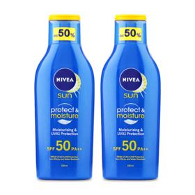 แพ็คคู่ NIVEA Sun Protect & Moisture SPF50/PA++ (125ml x 2)