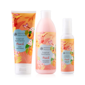 Oriental Princess Tropical Nutrients Peach Set 3 Items (Shampoo 250ml + Treatment 200g + Leave On Serum 95ml)