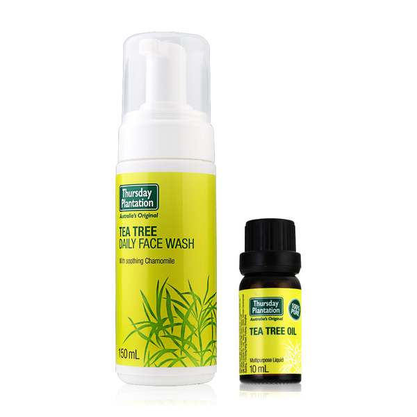 Thursday Plantation Tea Tree Set 2 Items (Oil Multipurpose Liquid 10ml + Daily Face Wash With Soothing Chamomile 150ml)