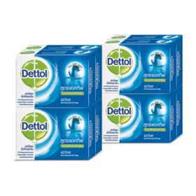 แพ็คคู่ Dettol Anti-Bacterial Soap Active (65g x 8pcs)
