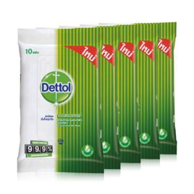 แพ็คสี่ Dettol Antibacterial Wet Wipe (10 Sheets x 4pcs) แถมฟรี Dettol Antibacterial Wet Wipe (10 Sheets x 1pcs)