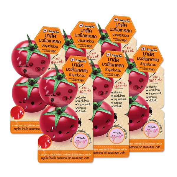 Smooto+Japan+Tomato+Collagen+White+%26+Smooth+Mask+%2810g+x+6pcs%29