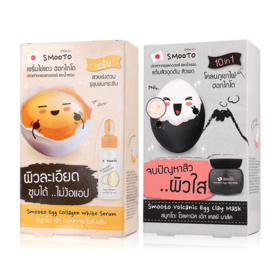 Smooto Japan Series Smooto Egg Set 2 Items (Collagen White Serum 6pcs + Volcanic Egg Clay Mask 6pcs)