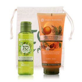 Yves Rocher Plaisirs Nature Set 2 Items (Olive Petitgrain Concentrated Shower Gel 100ml + Energizing Moisturizing Gel Apricot Ro