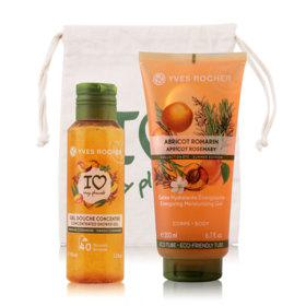 Yves Rocher Plaisirs Nature Set 2 Items (Mango Coriander Concentrated Shower Gel 100ml + Energizing Moisturizing Gel Apricot Ros