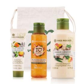 Yves Rocher Plaisirs Nature Set 3 Items (Mango Body Lotion 200ml + Mango Shower Gel 100ml + Body Balm Mandarin Lemon Cedar 30ml)
