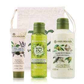 Yves Rocher Plaisirs Nature Set 3 Items (Body Balm Orange Lavender 30ml + Olive Shower Gel 100ml + Olive Body Lotion 200ml)
