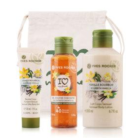 Yves Rocher Plaisirs Nature Bourbon Vanilla Set 3 Items (Body Lotion 200ml + Shower Gel 100ml + Body Balm 30ml)