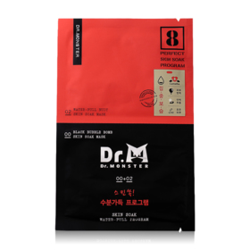 Dr.Monster Skin Soak Mask Water - Full Program (#00 Black Bubble Bomb 22ml + #02 Water-Full Nudy 25ml)