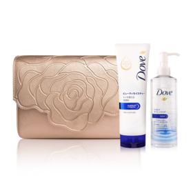 Dove Beauty Moisture Set 3 Items (Micellar Water 235ml + Facial Foam 130g + Aristotle Bag #Rose Gold)
