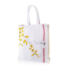 Clarins Yellow Flowers Striped Bag