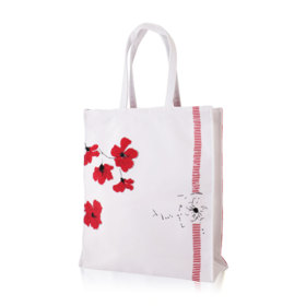 Clarins Red Flowers Striped Bag