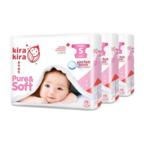 Kira Kira Pure & Soft Baby Tape Diaper 64pcs x 3packs (192pcs in box) #S