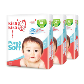 Kira Kira Pure & Soft Baby Pant Diaper 40pcs x 3packs (120pcs in box) #XL