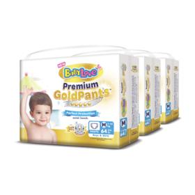 BabyLove Premium Gold Pants Perfection Protection 64pcs x 3packs (192pcs in box) #M