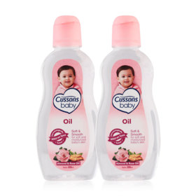 แพ็คคู่ Cussons Baby Oil Soft&Smooth #Almond & Rose Oil (200mlx2)