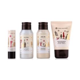 Yves Rocher Christmas 2017 White Vanilla Set (Shower Gel 50ml + Body Lotion 50ml + Hand Cream 30ml + Lip Balm 4.8g)