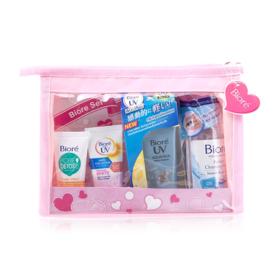 Biore Travel Set 4 Items (UV Essence 15g + Cleansing Water 90ml + UV Body Serum 15ml + Pore Detox 15ml)