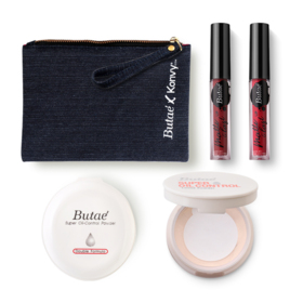 Butae Exclusive Set #White (Oil-Control Powder Double Formula #1 + Loose Powder 7g #5 + Matte & Last Lip #9 & #7) Free! Jeans Ba