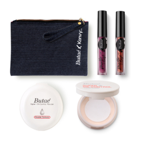 Butae Exclusive Set #Honey (Super Oil-Control Powder Double Formula #2 + Loose Powder 7g #05 + Matte & Last Lip #14 & #6) Free!
