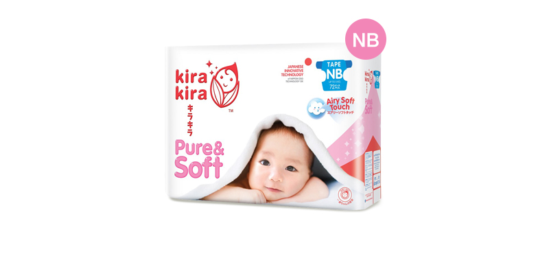 Kira Kira Pure & Soft Baby Tape Diaper 72pcs #Newborn