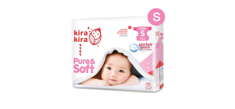 Kira Kira Pure & Soft Baby Tape Diaper 64pcs #S