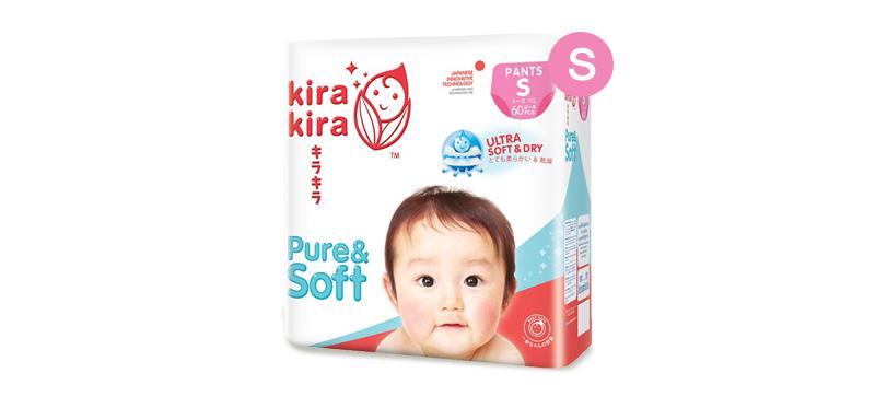 Kira Kira Pure & Soft Baby Pant Diaper 60pcs #S