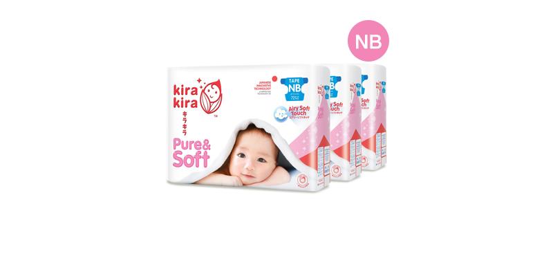 Kira Kira Pure & Soft Baby Tape Diaper 72pcs x 3packs (216pcs in box) #Newborn