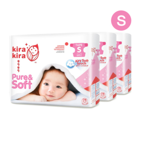 Kira Kira Pure & Soft Baby Tape Diaper 64pcs x 3packs (192pcs in box) #S