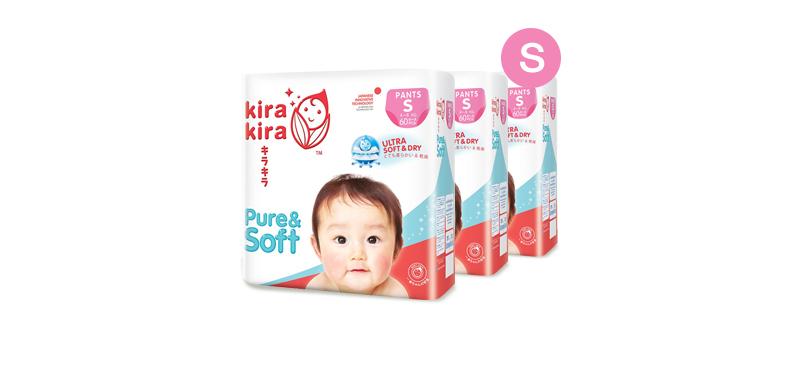 Kira Kira Pure & Soft Baby Pant Diaper 60pcs x 3packs (180pcs in box) #S