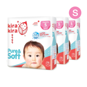 Kira Kira Pure & Soft Baby Pant Diaper 60pcs x 3packs (180pcs in box) #S