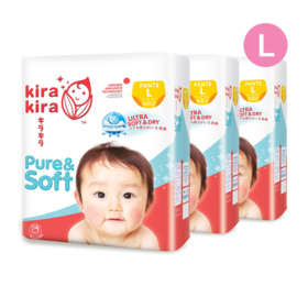 Kira Kira Pure & Soft Baby Pant Diaper 44pcs x 3packs (132pcs in box) #L