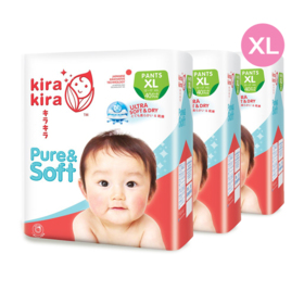 Kira Kira Pure & Soft Baby Pant Diaper 40pcs x 3packs (120pcs in box) #XL