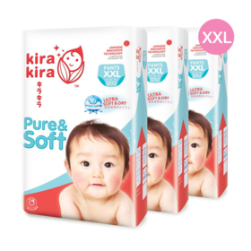Kira Kira Pure & Soft Baby Pant Diaper 32pcs x 3packs (96pcs in box) #XXL