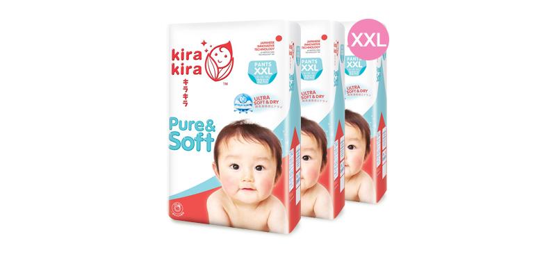 Kira Kira Pure & Soft Baby Pant Diaper 32pcs x 3packs (96pcs in box) #XXL