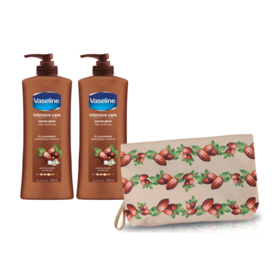 Vaseline Body Lotion Cocoa Glow (350ml x 2pcs) (Free! Winter Collection Bag Cocoa)