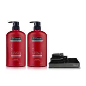 Tresemme Shampoo Keratin Smooth Red (480ml x 2pcs) (Free! Cosmetic Tray)