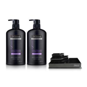 Tresemme Shampoo Platinum Strength Purple (480ml x 2pcs) (Free! Cosmetic Tray)