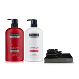 Tresemme Shampoo Keratin Smooth Red 480ml & Hair Conditioner (2pcs) (Free! Cosmetic Tray)