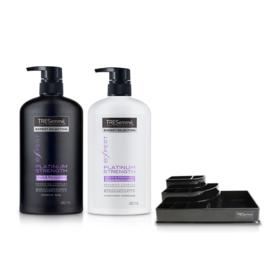 Tresemme Shampoo Platinum Strength Purple 480ml & Hair Conditioner (2pcs) (Free! Cosmetic Tray)