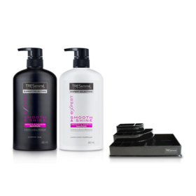 Tresemme Shampoo Smooth & Shine Pink 480ml & Hair Conditioner (2pcs) (Free! Cosmetic Tray)