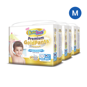 BabyLove Premium Gold Pants Perfection Protection 64pcs x 3packs (192pcs in box) #M