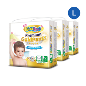 BabyLove Premium Gold Pants Perfection Protection 52pcs x 3packs (156pcs in box) #L