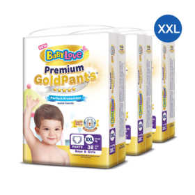 BabyLove Premium Gold Pants Perfection Protection 38pcs x 3packs (114pcs in box) #XXL