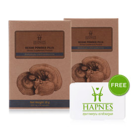 แพ็คคู่ HAPNES Reishi Powder Plus (600mg x 30capsules x 2box)(Free! Pillbox)