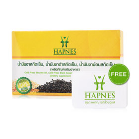 HAPNES Cold Press Sesame Oil, Cold Press Black Sesame, Cold Press Perilla Seed Oil (700mg x 30capsules)(Free! Pillbox)