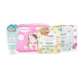 MyBeautyDiary Travel Set 5Items (Bag + Foam + Rose Moisturizing Mask + White Lily Brightening Mask + Witch Hazel Oil-control Mas